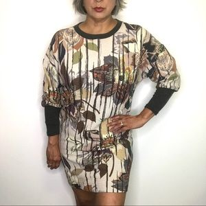 Anthro Uncle Frank Cream Floral Tunic Dress